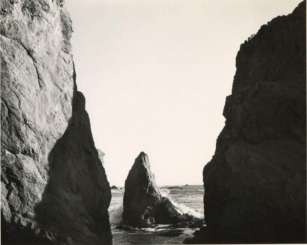 Rock pass opening into ocean with rocky spire in the middle, Mark Ruwedel, Pictures of Hell